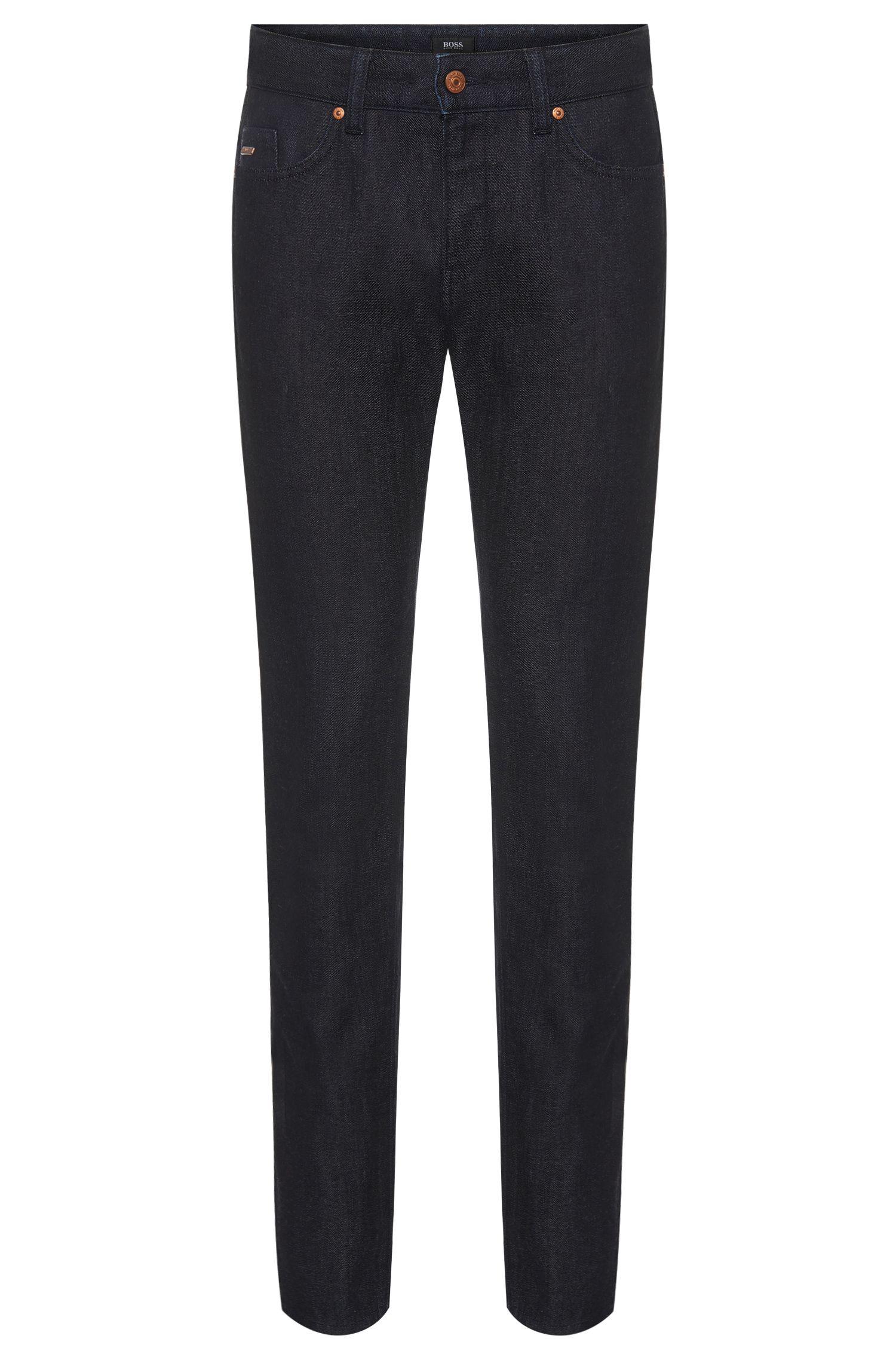 Slim-fit jeans van een katoenmix met wol in rinsed-look: 'Delaware3-1'
