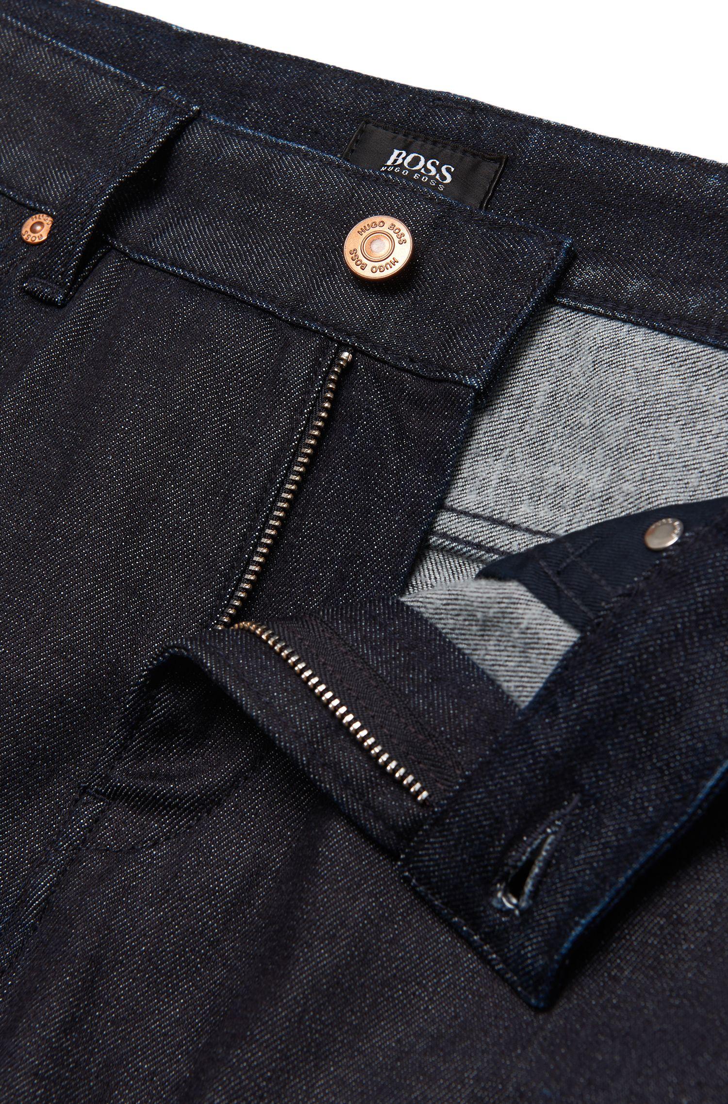 Jeans Slim Fit en coton mélangé à teneur en laine à la finition rinsed: «Delaware3-1»