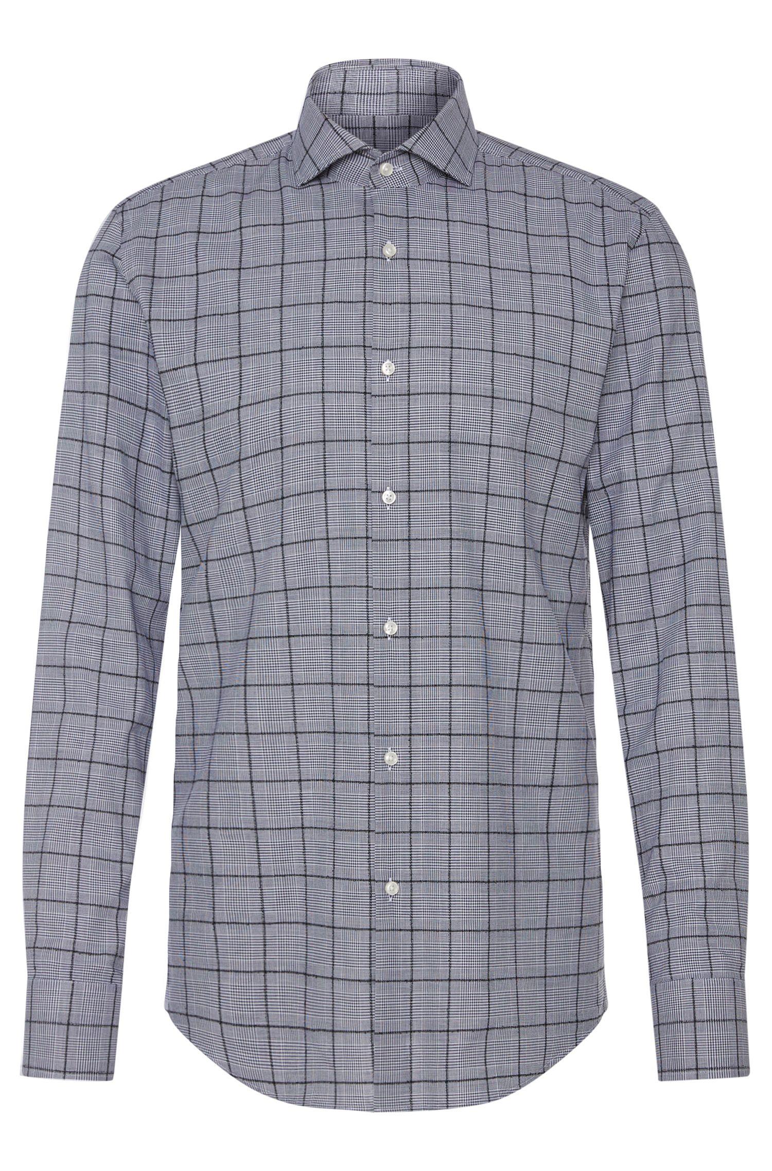 Chemise Slim Fit en coton mélangé, à motif à carreaux Prince de Galles: «Jason»