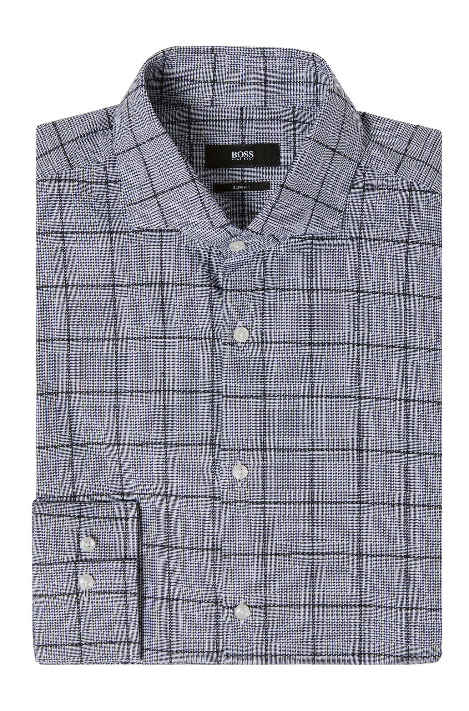 Slim-fit overhemd van een katoenmix met glencheckdessin: 'Jason'
