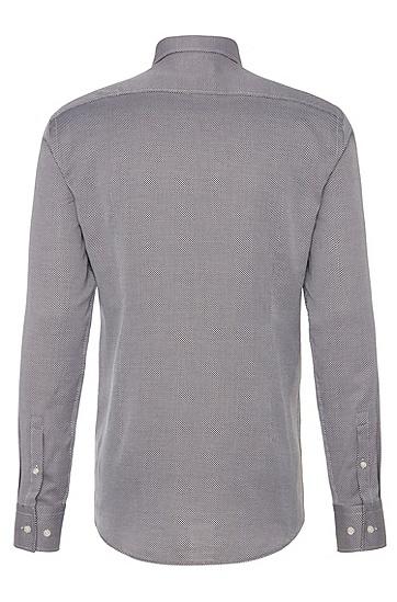 Gemustertes Slim-Fit Hemd aus Baumwolle: 'Jason', Dunkelbraun