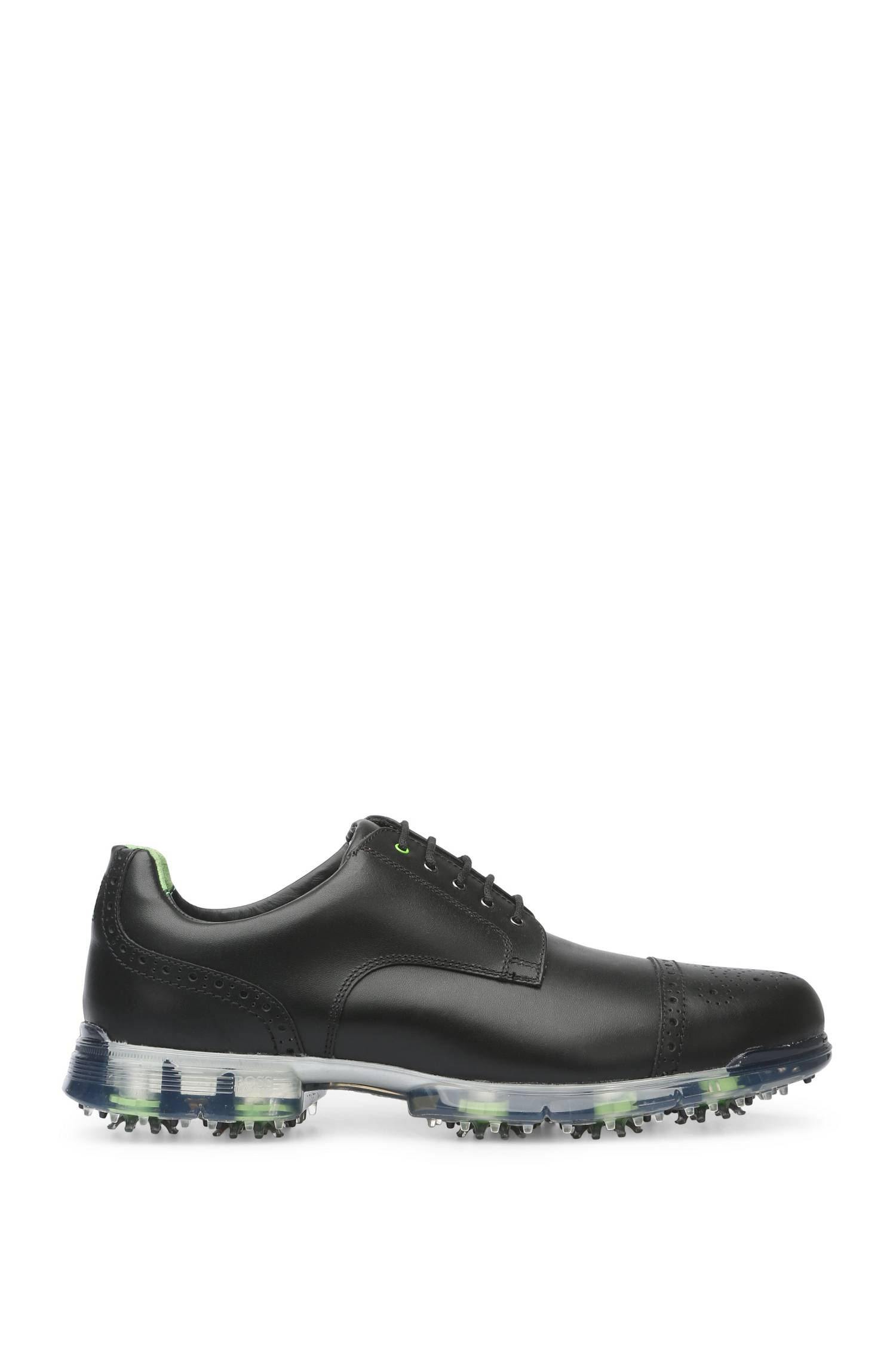 Golf shoes in leather with brogue details `Golfpro_Golf_ltct`