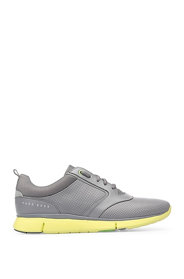 Trainers in fabric blend with perforations: 'Gym_Runn_ltpf', Open Grey