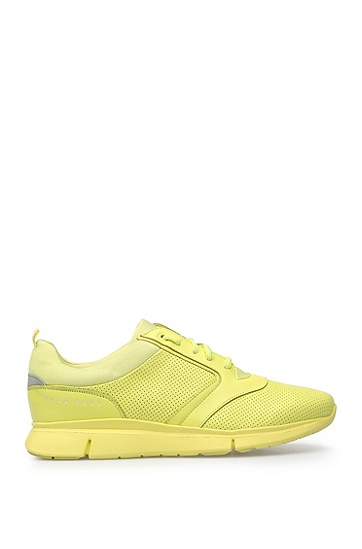 Trainers in fabric blend with perforations: 'Gym_Runn_ltpf', Yellow