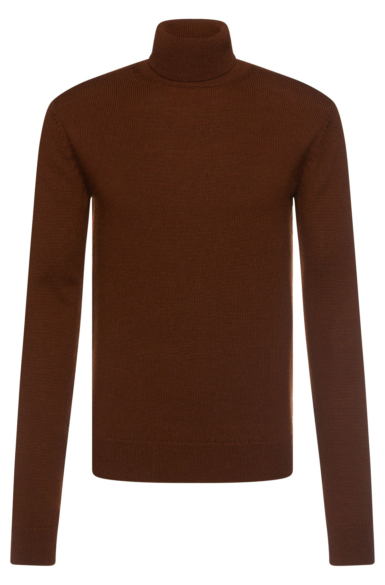 Slim-fit Tailored polo neck sweater in new-wool blend with alpaca: 'T-Bax'