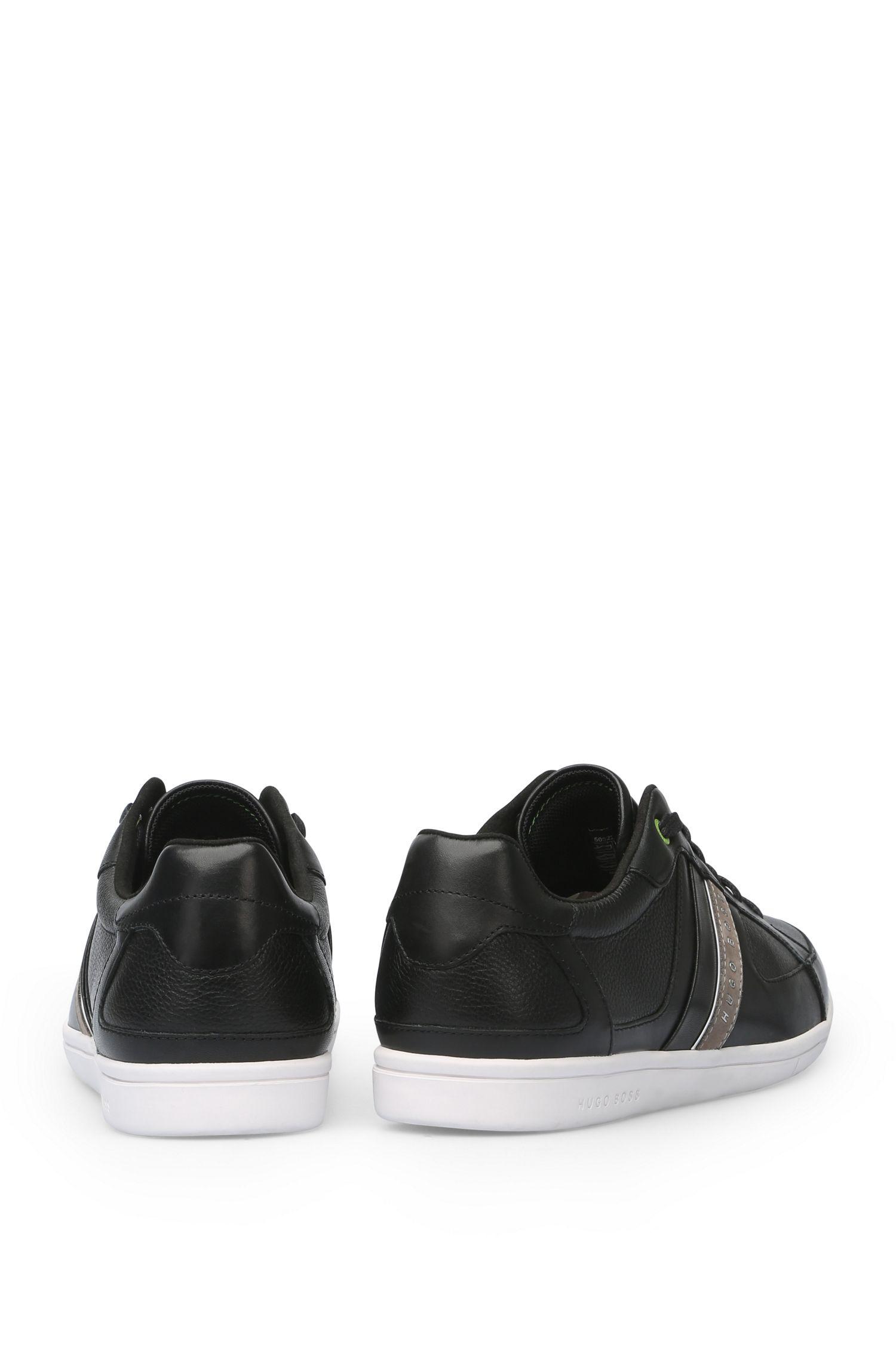 Sneakers van glad leer met contrastzool: 'Metro_Tenn_ltgr'