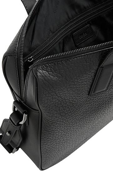 Workbag aus Leder mit Umhängeriemen: 'Neoclassic_S doc', Schwarz