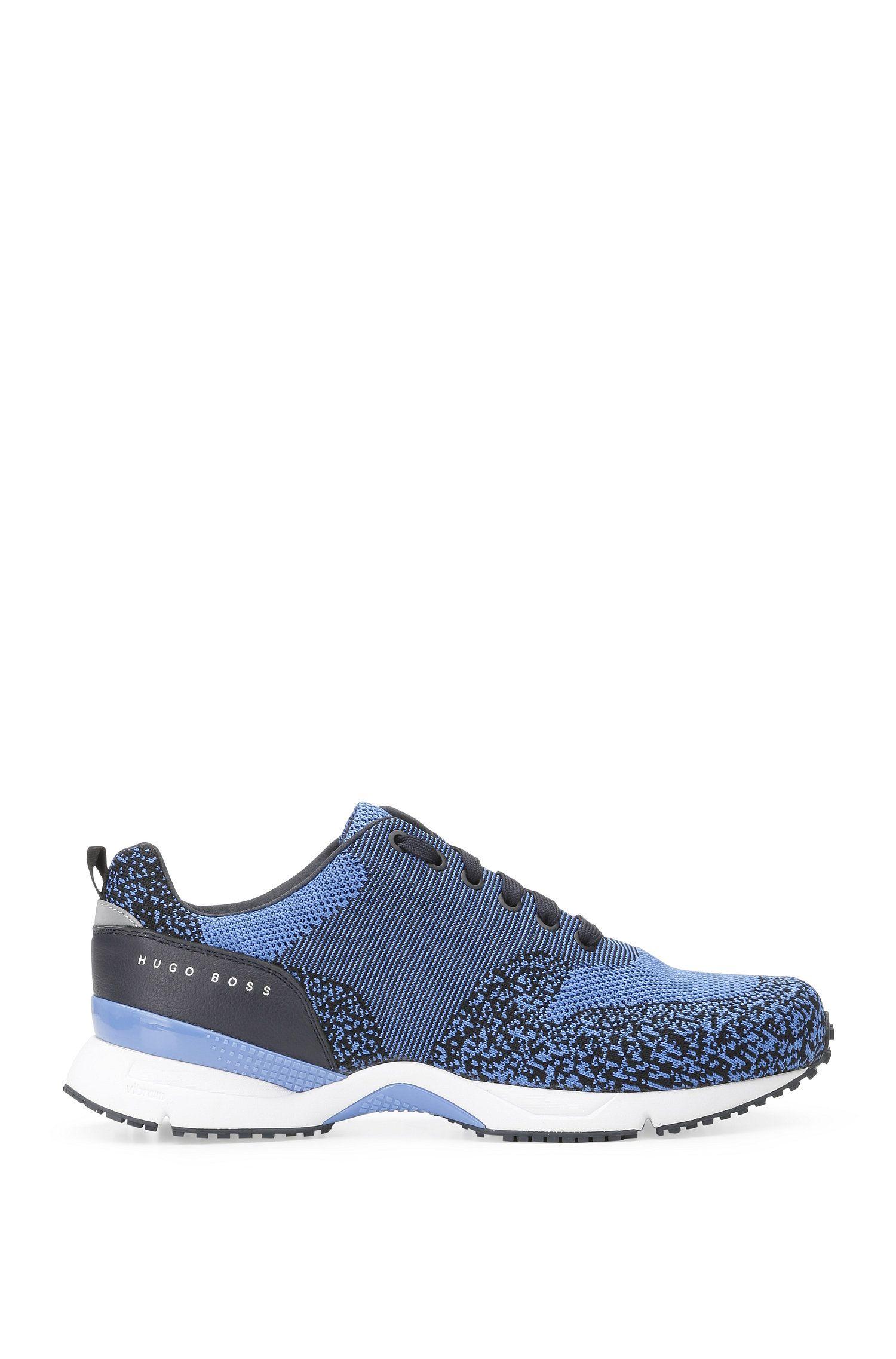 Sneakers met gebreide textiel en leer: 'Velocity_Runn_sykn'