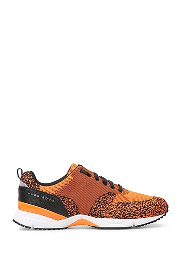 Baskets en maille et cuir : « Velocity_Runn_sykn », Orange