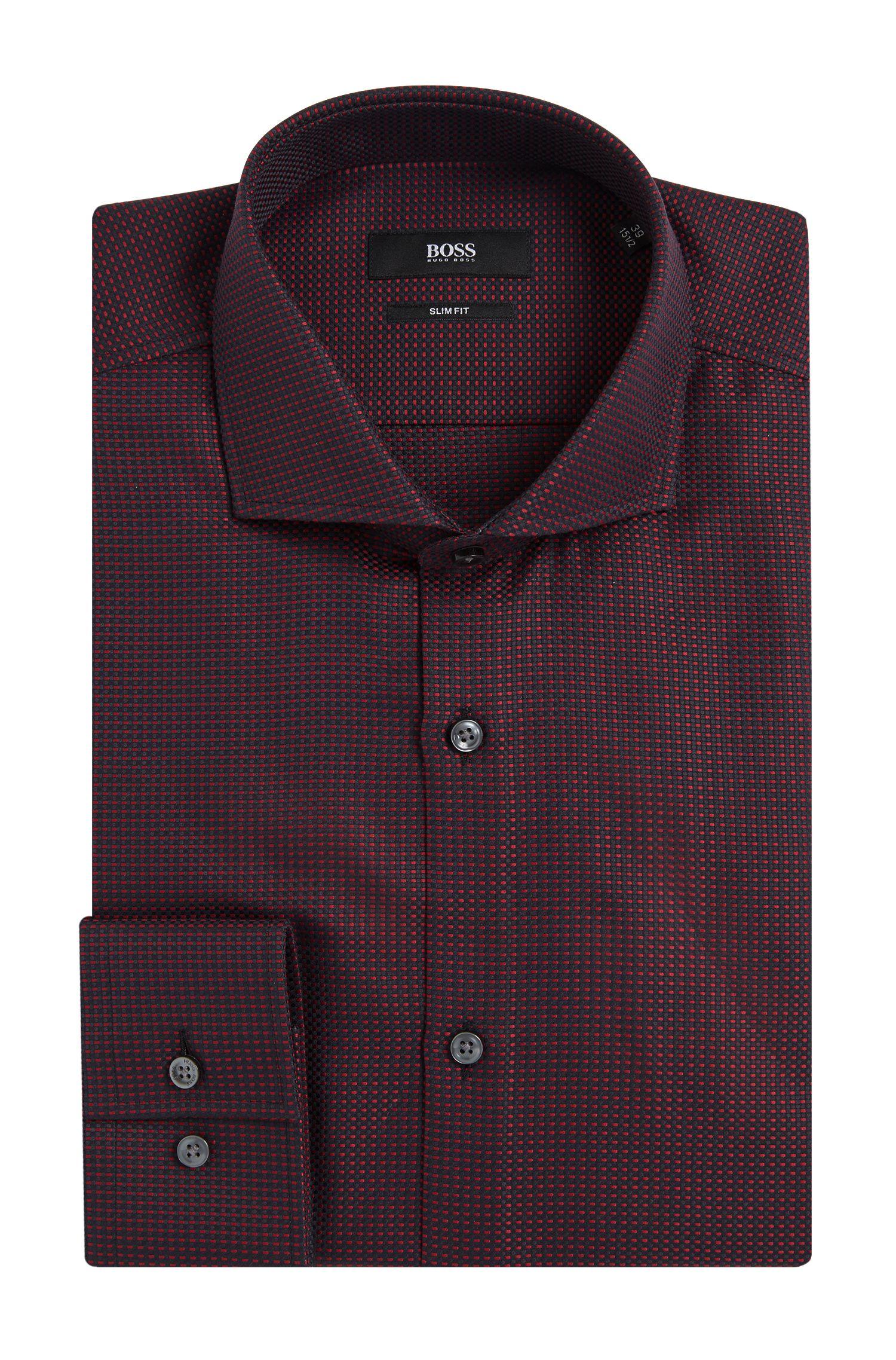 Fijngestructureerd slim-fit overhemd van katoen: 'Jason'