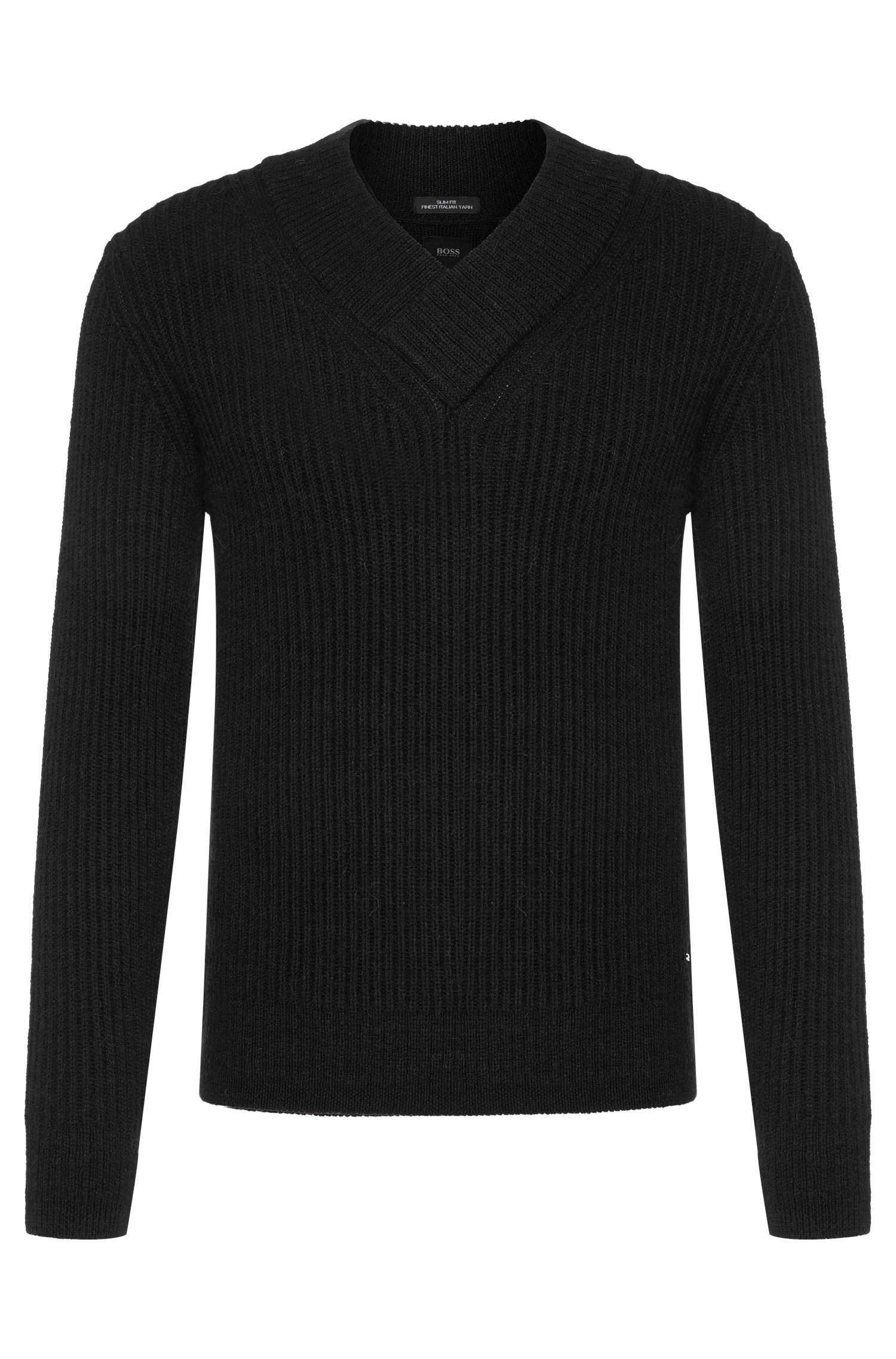 Slim-Fit Tailored Pullover aus Schurwoll-Mix mit Alpaka-Anteil: 'T-Bressano'