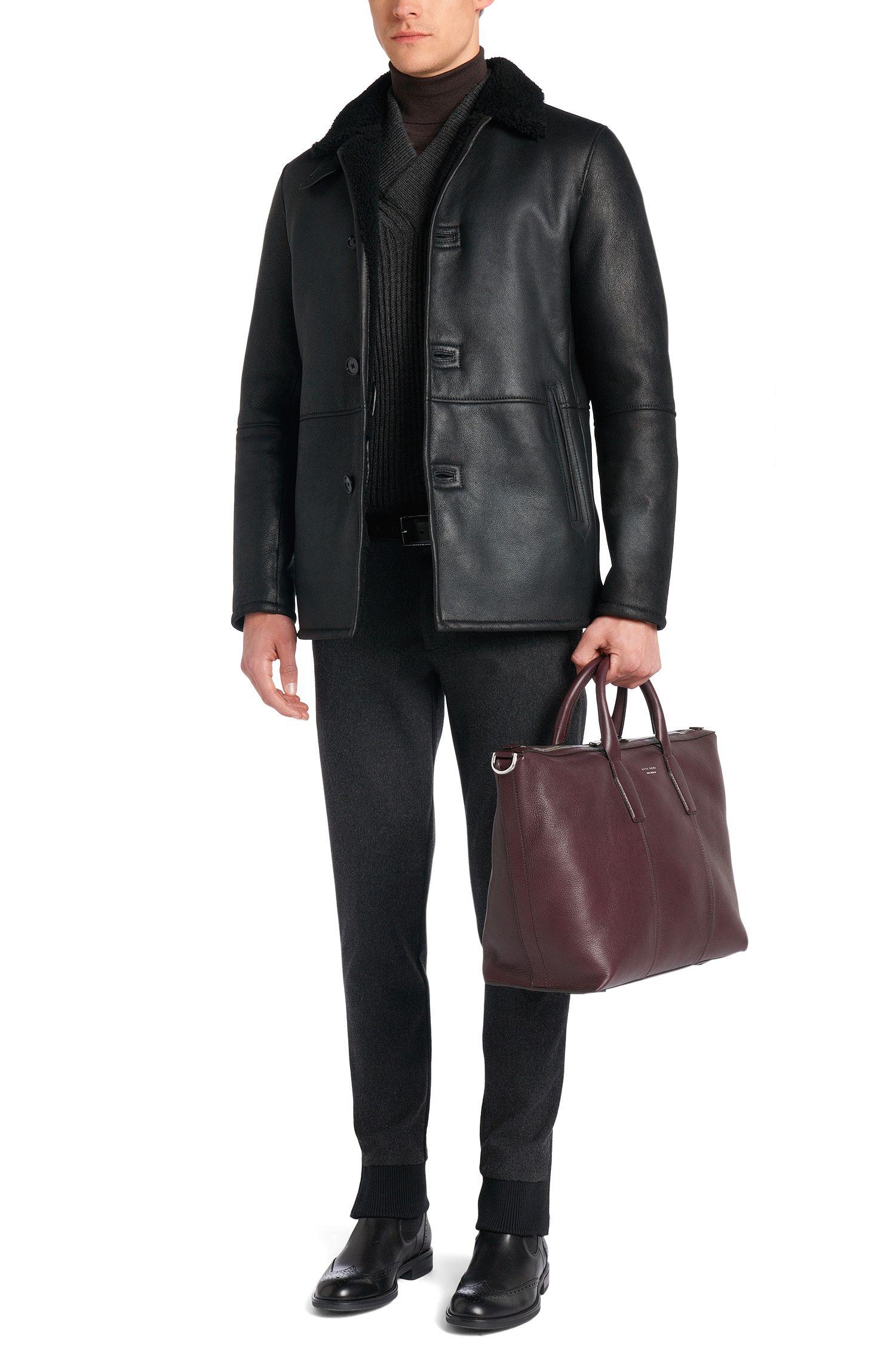 Pull Slim Fit Tailored en laine vierge mélangée à teneur en alpaga: «T-Bressano»