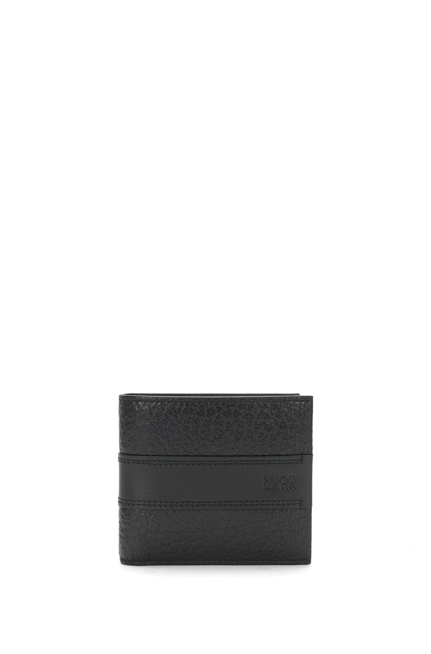 Leather wallet in a mixture of textures: 'Neoclassic_4 cc coin'
