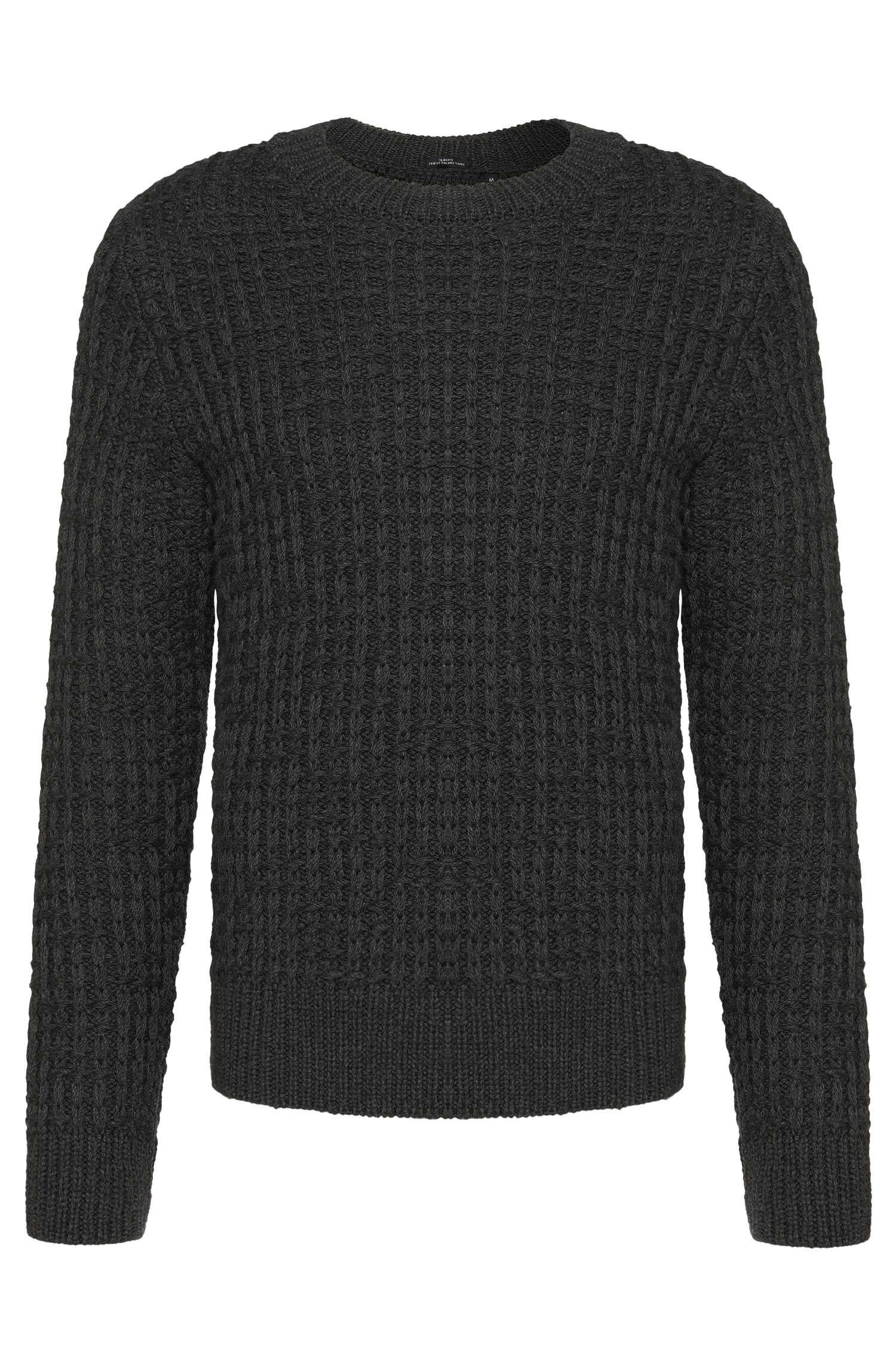 Pullover in misto lana vergine slim fit Tailored con motivo a maglia: 'T-Buccino'