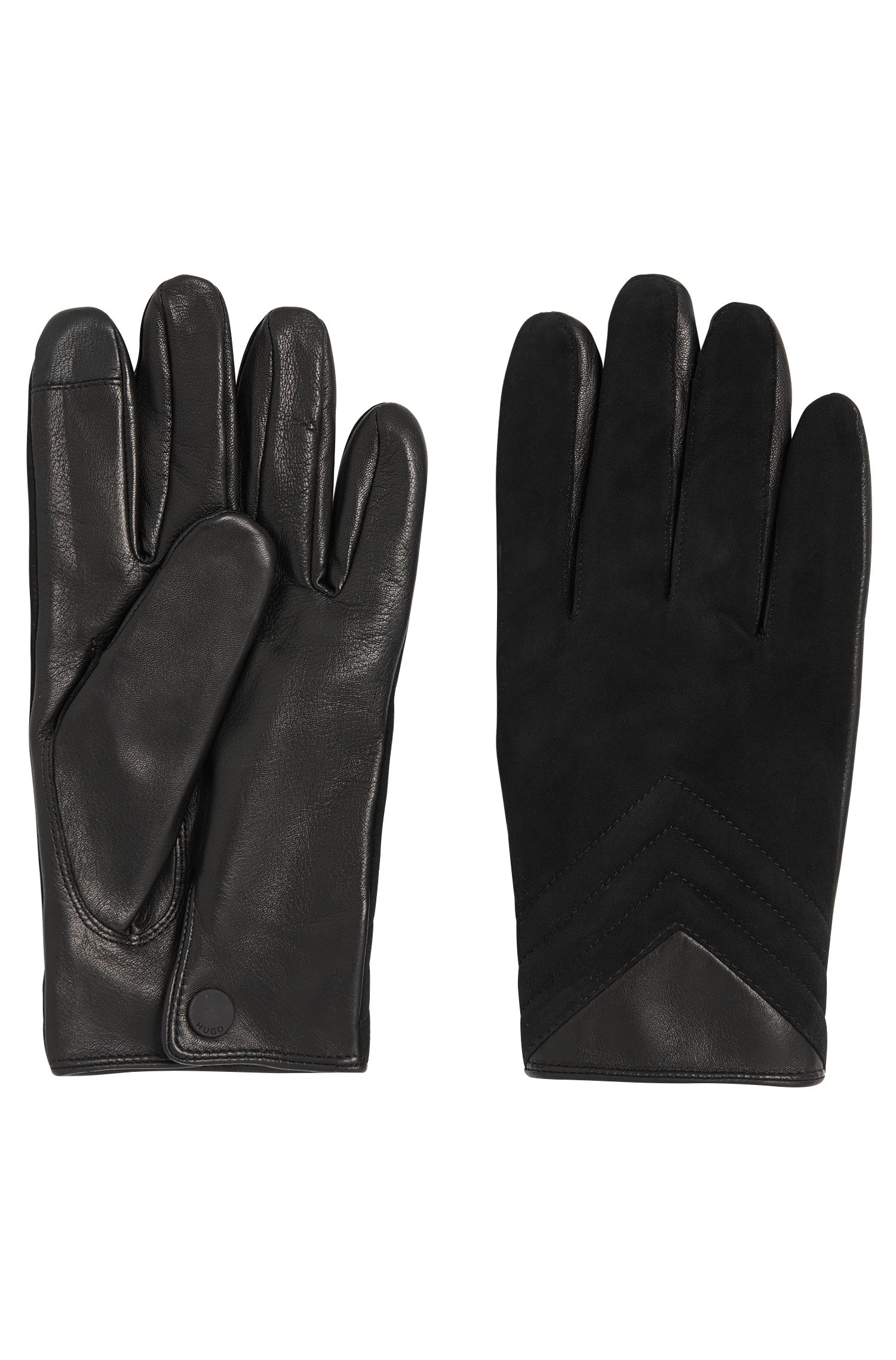 Leather gloves with a mixture of textures: 'HH 124'