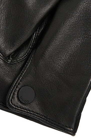 Handschuhe aus Leder im Struktur-Mix: 'HH 124', Schwarz