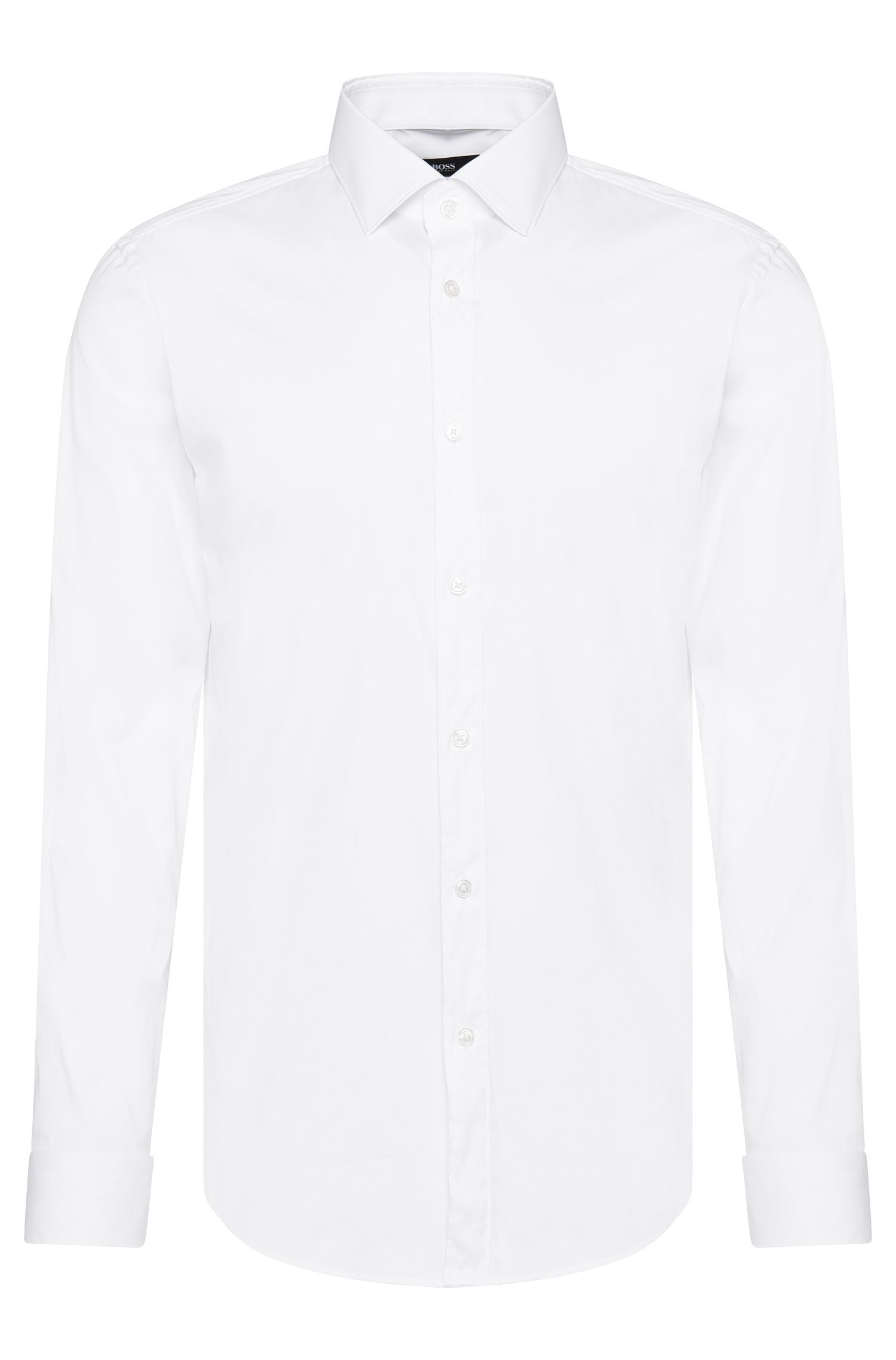 Plain slim fit shirt in cotton blend: 'Isaak'
