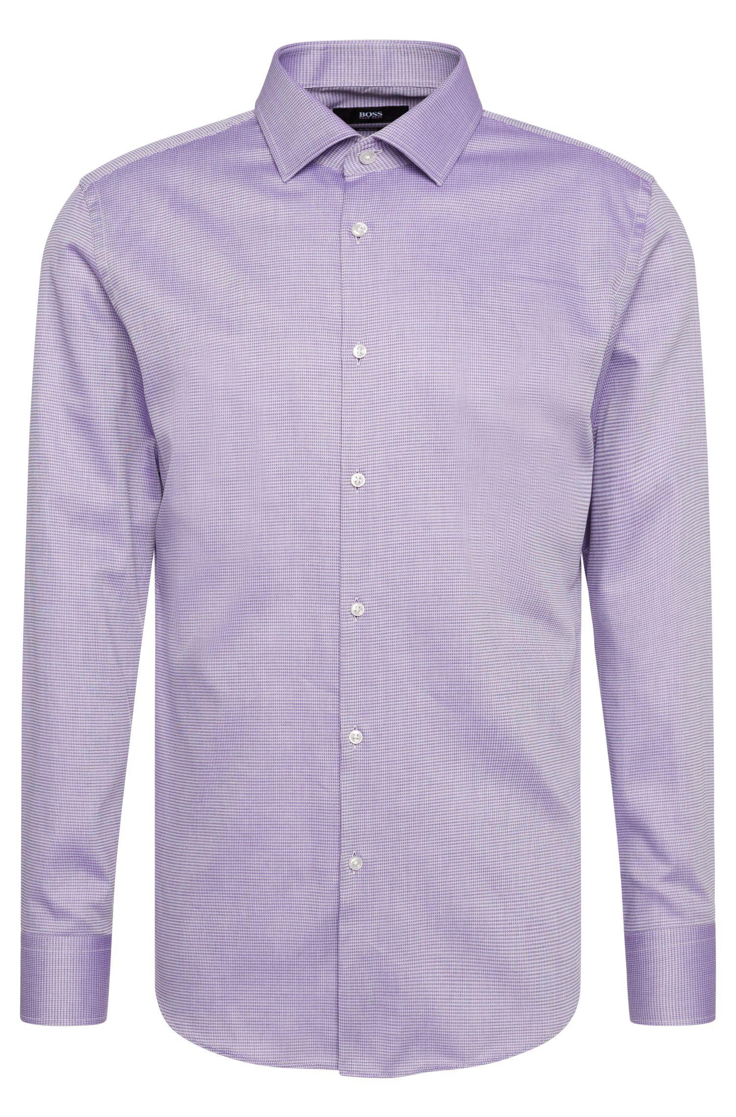 Camicia slim fit in cotone finemente disegnata: 'Jenno'