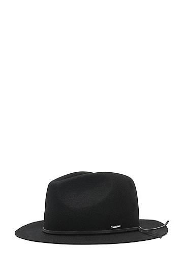 Fedora Hut aus Schurwolle: 'Men-x-531', Schwarz