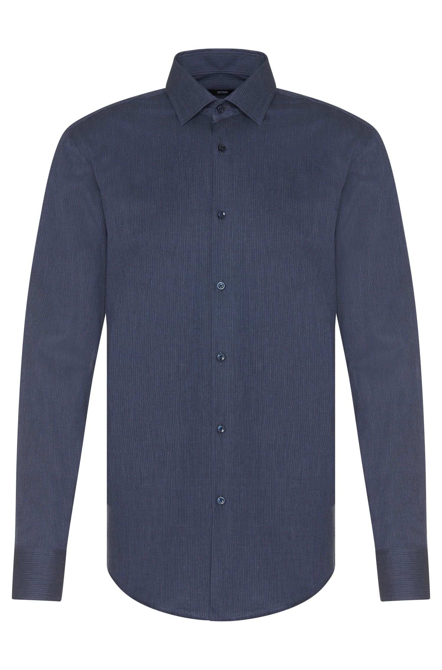 Striped slim-fit shirt in pure cotton: 'Jenno'