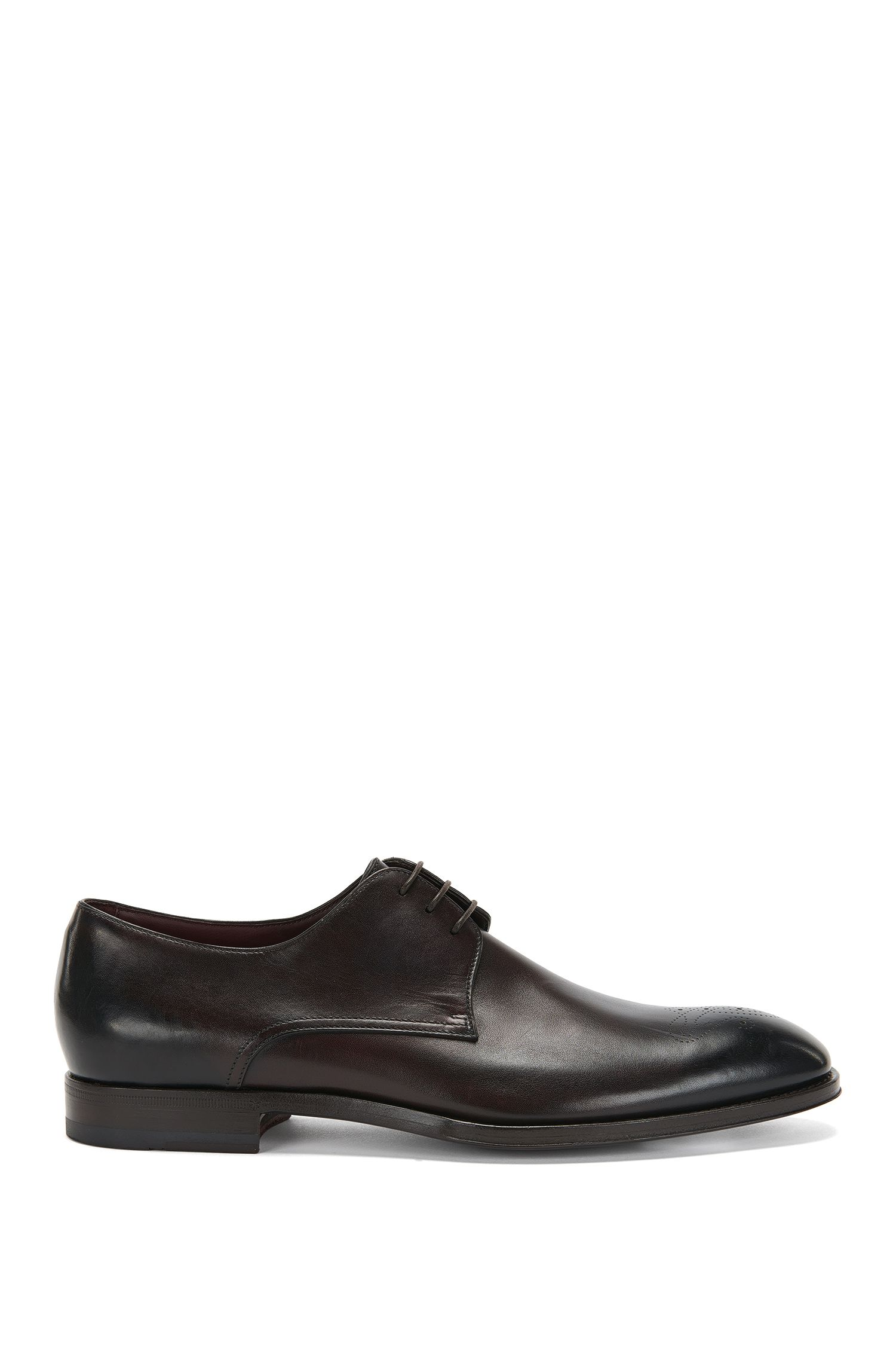 Tailored leather lace-up shoes with perforated pattern: 'T-Legend_Derb_ltls'
