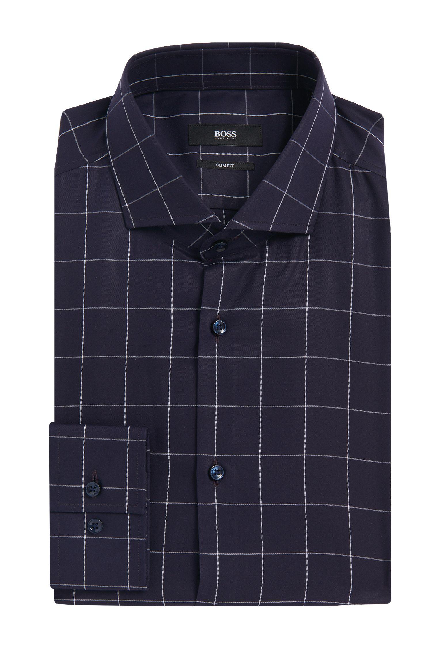 Geruit slim-fit overhemd van katoen: 'Erondo'