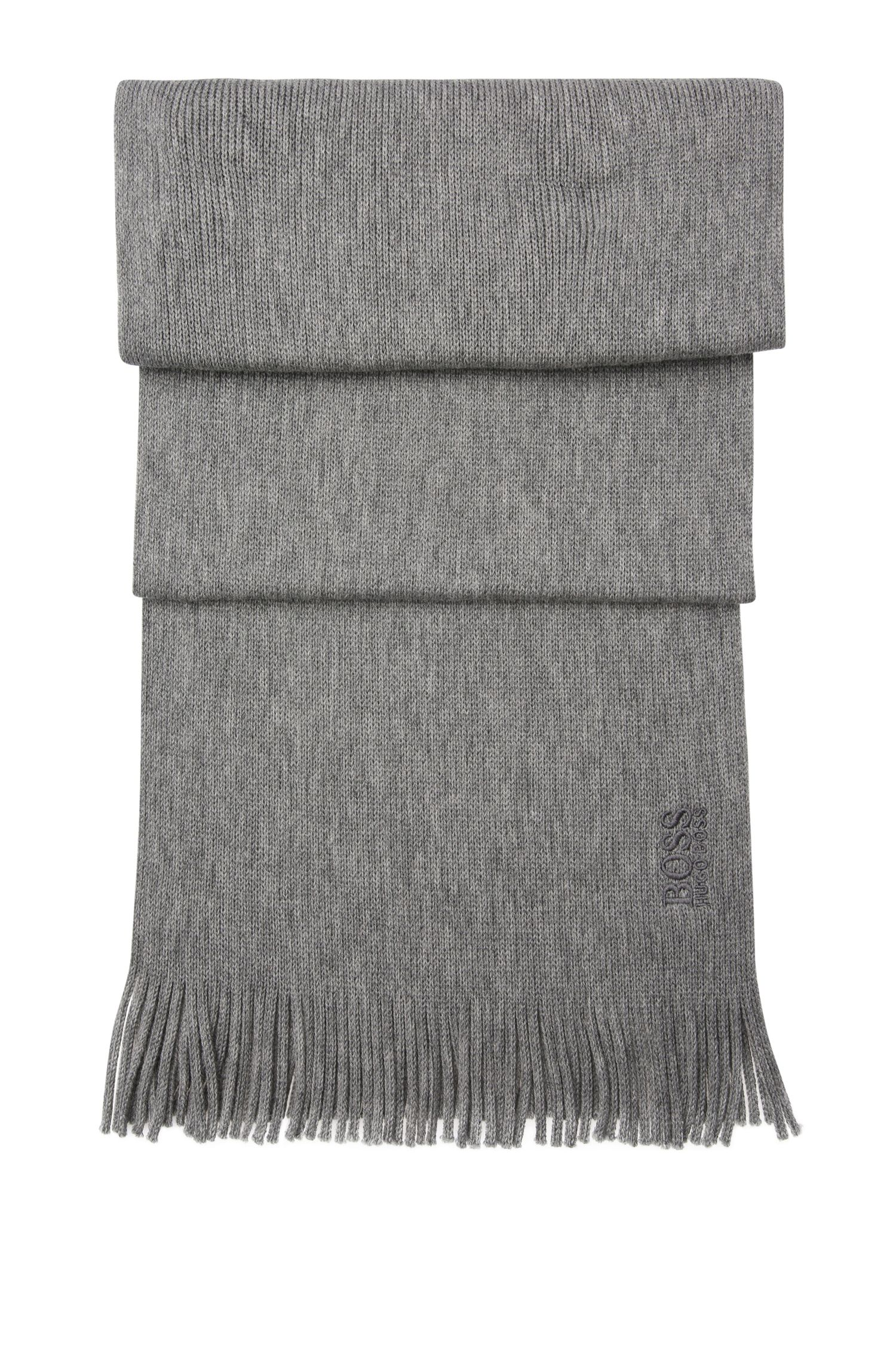 New-wool scarf in fine-knit quality with fringes: 'C-Albas'
