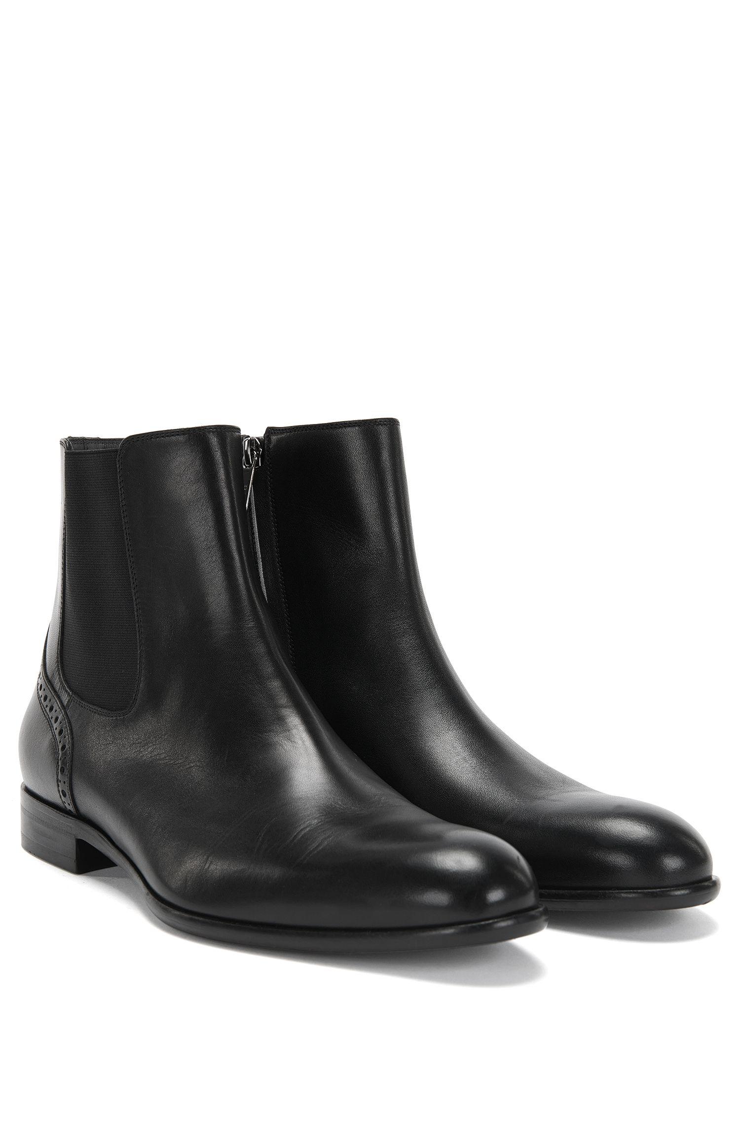 Chelsea Boots aus Leder mit Lochmuster: 'Manhattan_Cheb_ltpt'