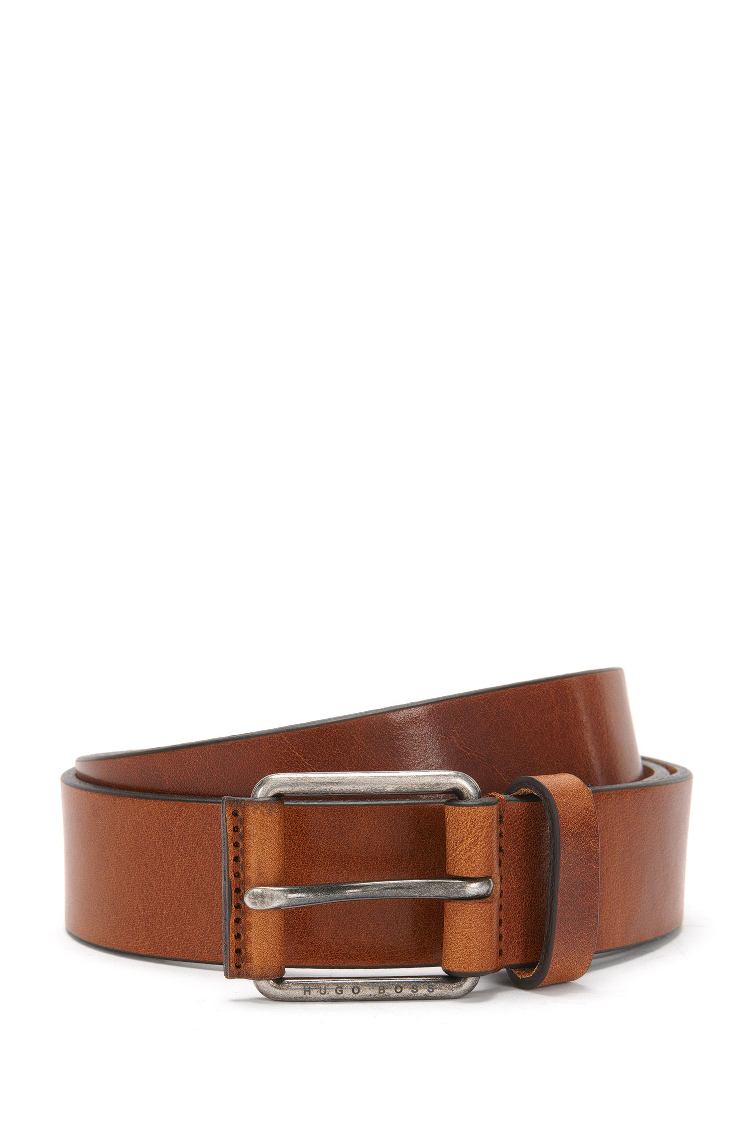 Leather belt with embossed buckle: 'Selesio_Sz35_ltbl'