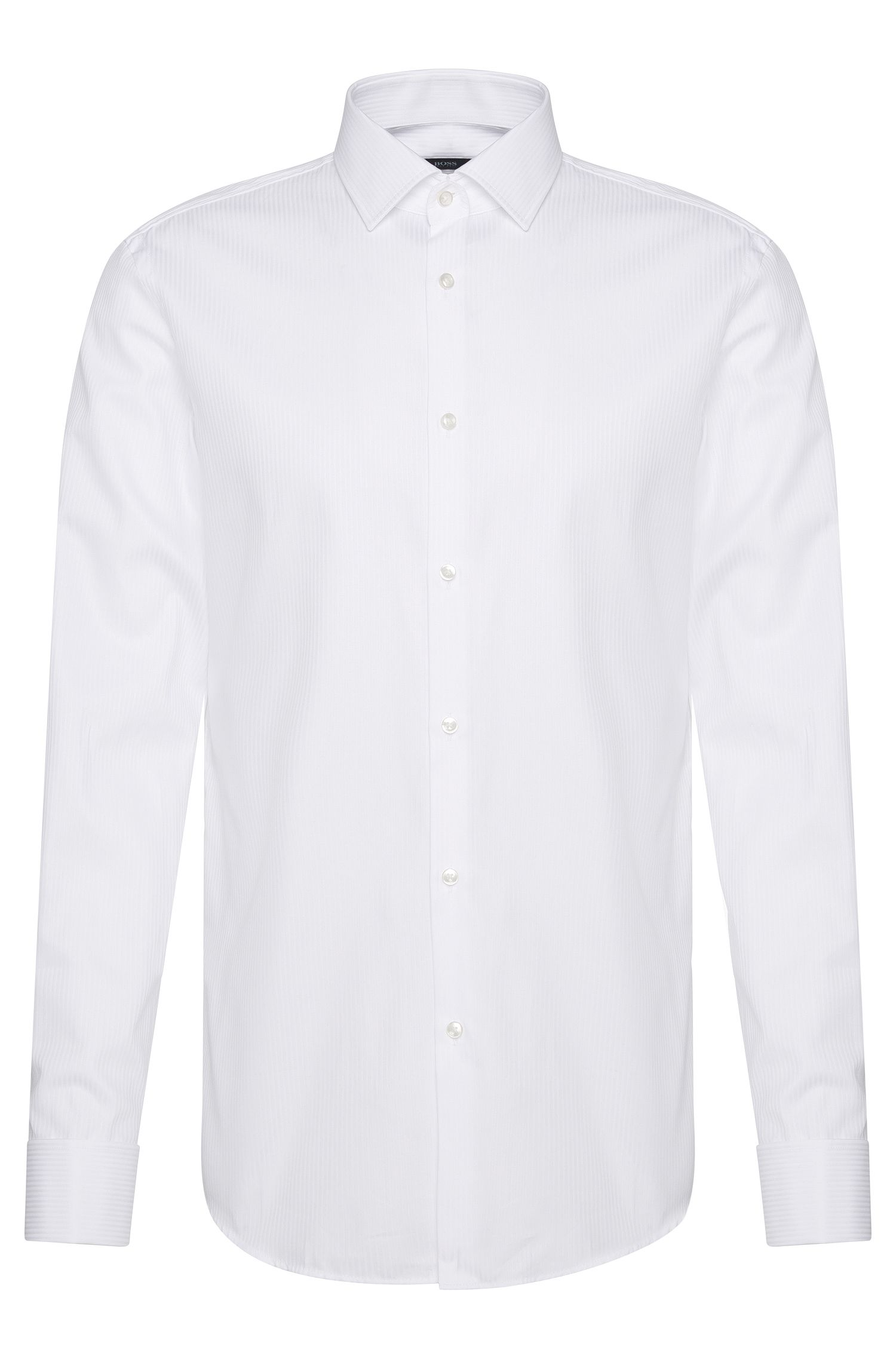 Slim-fit shirt in pure cotton with turn-back cuffs: 'Jaques'