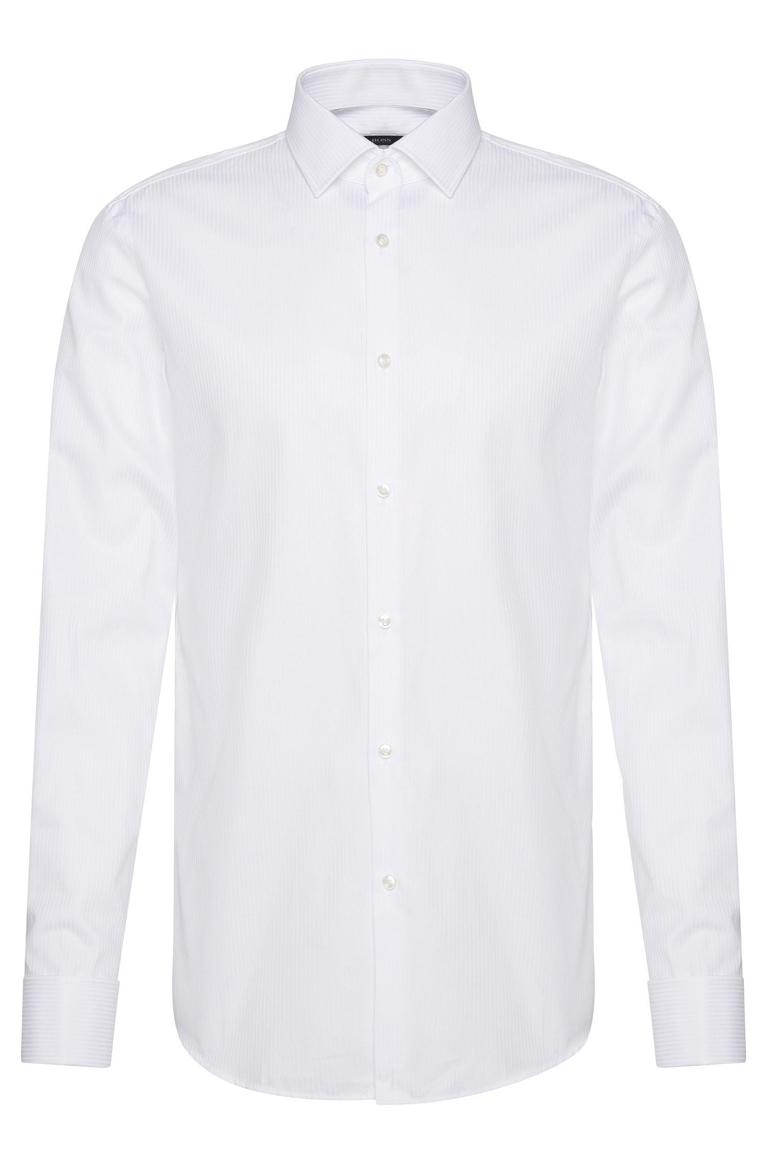 Camisa slim fit en algodón puro con puños dobles: 'Jaques'