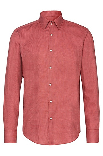 Gemustertes Regular-Fit Hemd aus Baumwolle: 'Enzo', Rot