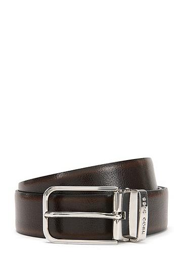 Wendegürtel aus Leder mit austauschbaren Schließen: 'Garlef_Gb35_ps', Schwarz