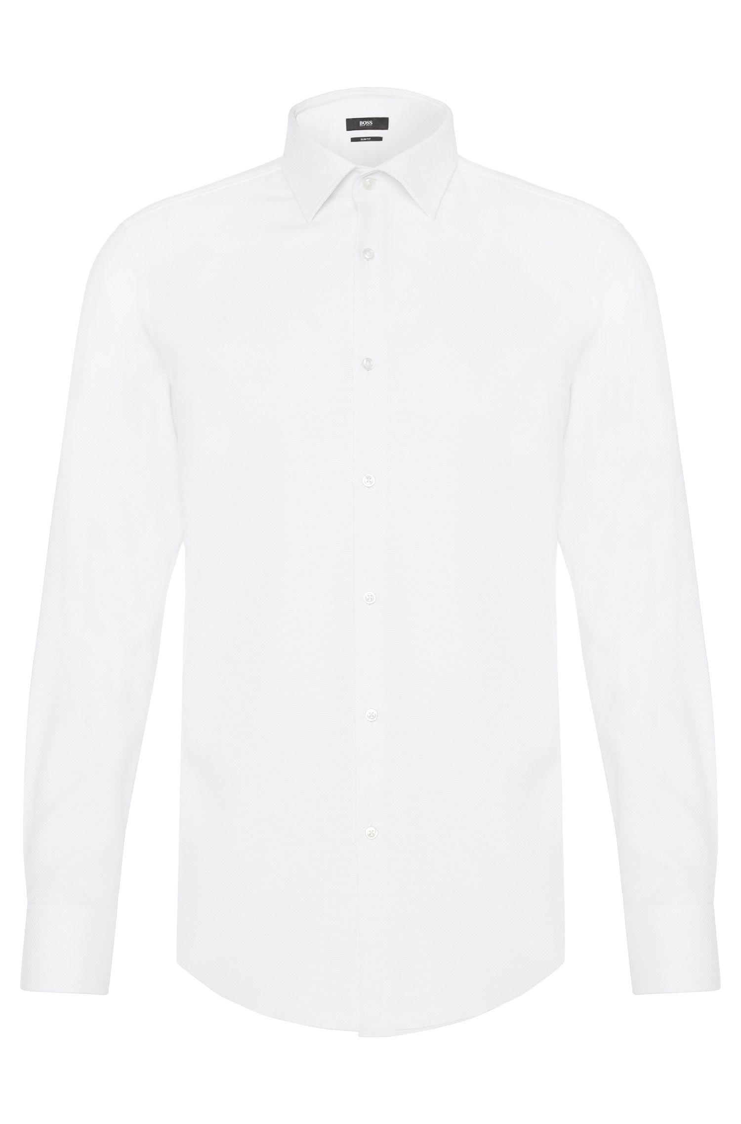 Slim-fit shirt in structured pure cotton: 'Jenno'
