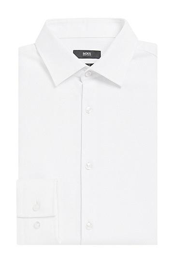 Slim-Fit Hemd aus strukturierter reiner Baumwolle: 'Jenno', Weiß