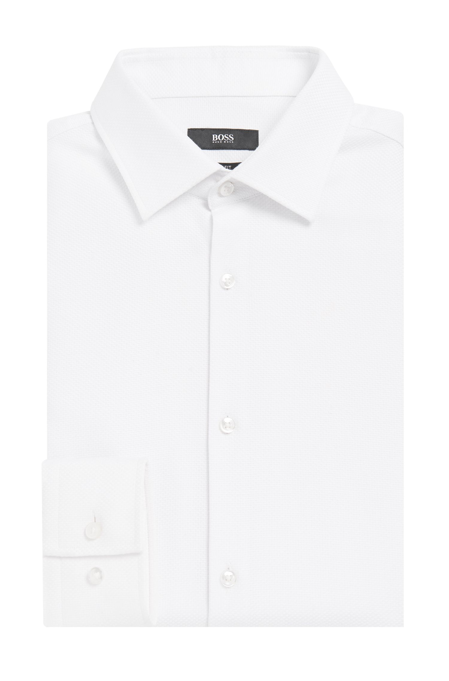 Slim-fit overhemd van gestructureerde, zuivere katoen: 'Jenno'