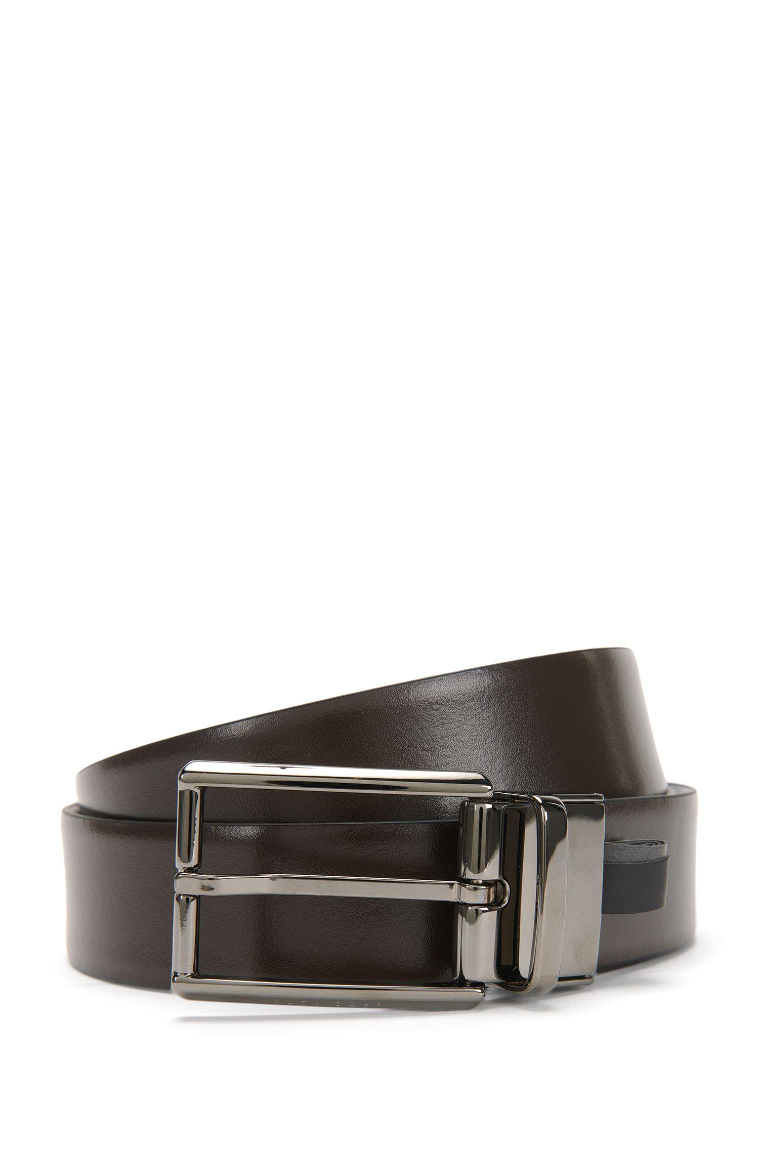 Wendegürtel aus Leder mit Schließe in Silber-Optik: 'Omero_Or35_pp'
