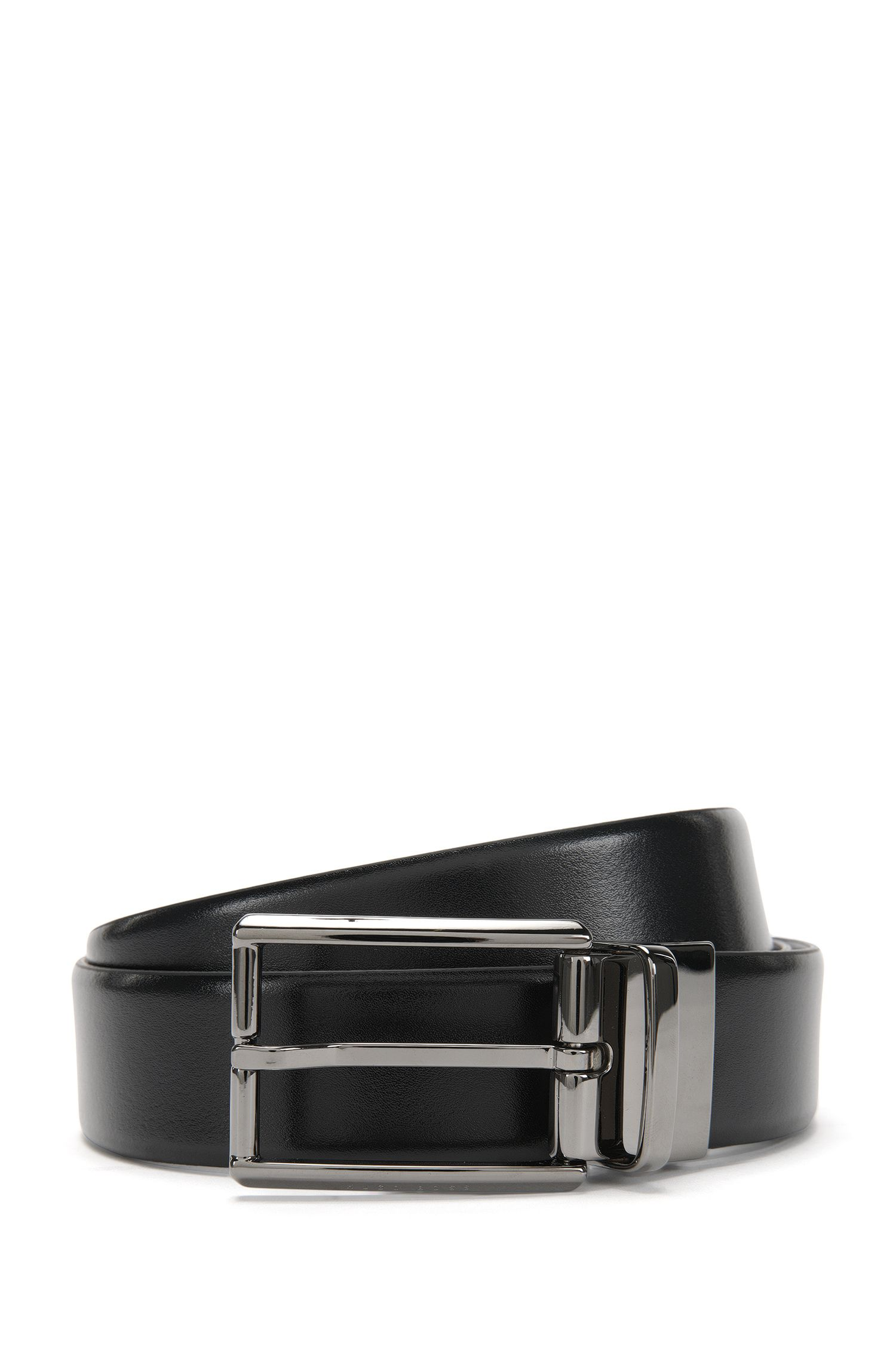 Reversible leather belt with silver-look clasp: 'Omero_Or35_pp'