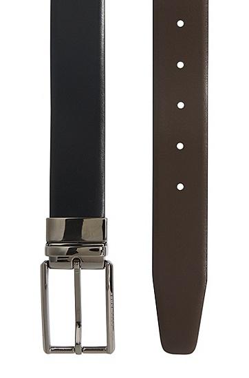 Wendegürtel aus Leder mit Schließe in Silber-Optik: 'Omero_Or35_pp', Schwarz