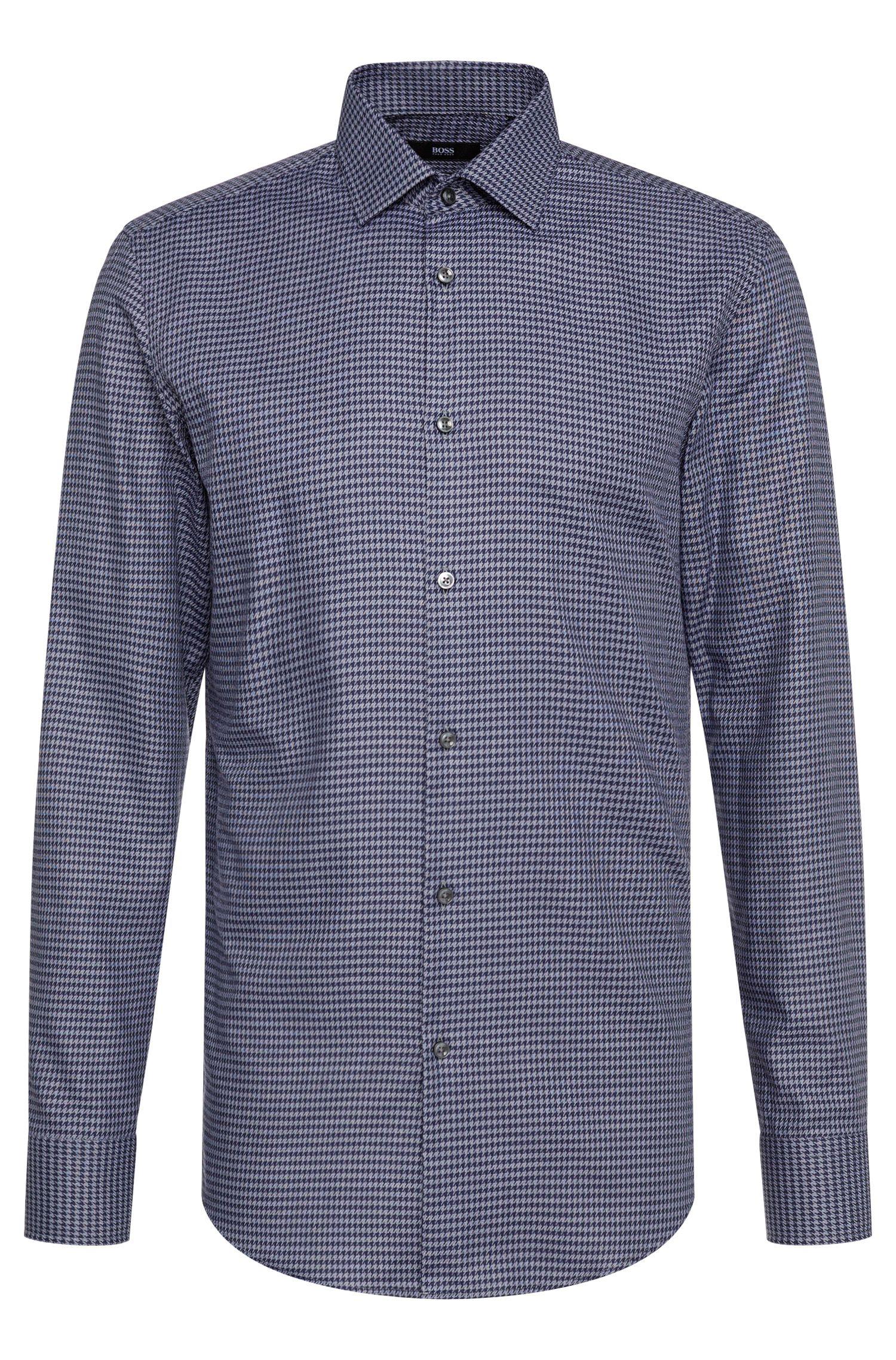 Slim-fit overhemd van katoen met pied-de-poule patroon: 'Jenno'