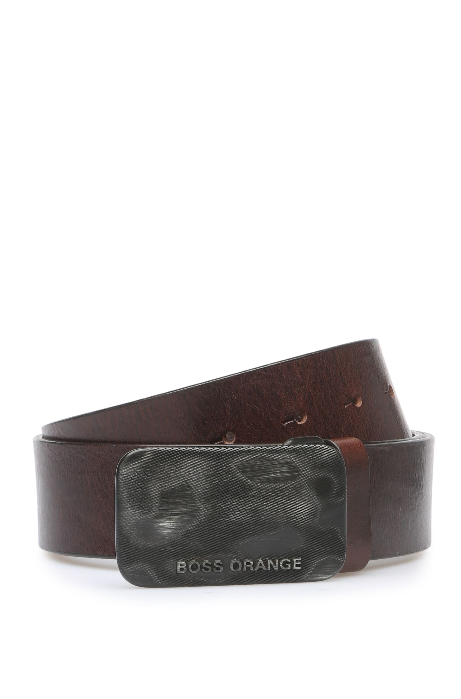 Leather belt with distinctive metal buckle: 'Jacko_Sz40_ltp'
