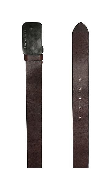 Ledergürtel mit markanter Metallschließe: ´Jacko_Sz40_ltp`, Dunkelbraun
