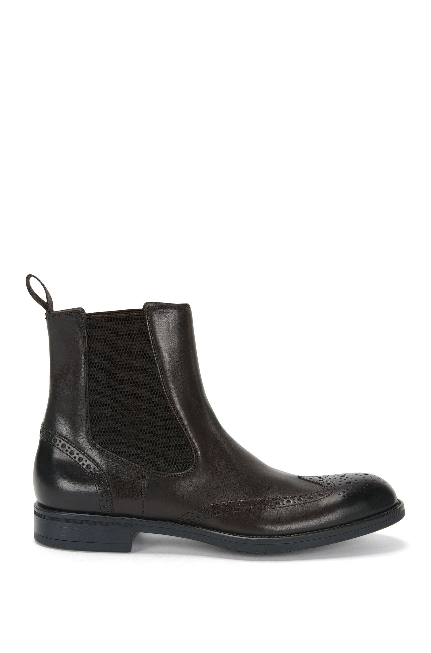Leather Chelsea boots with brogue patterning: 'Kenth_Cheb_ltwtb'