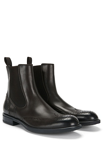 Leather Chelsea boots with brogue patterning: 'Kenth_Cheb_ltwtb', Dark Brown