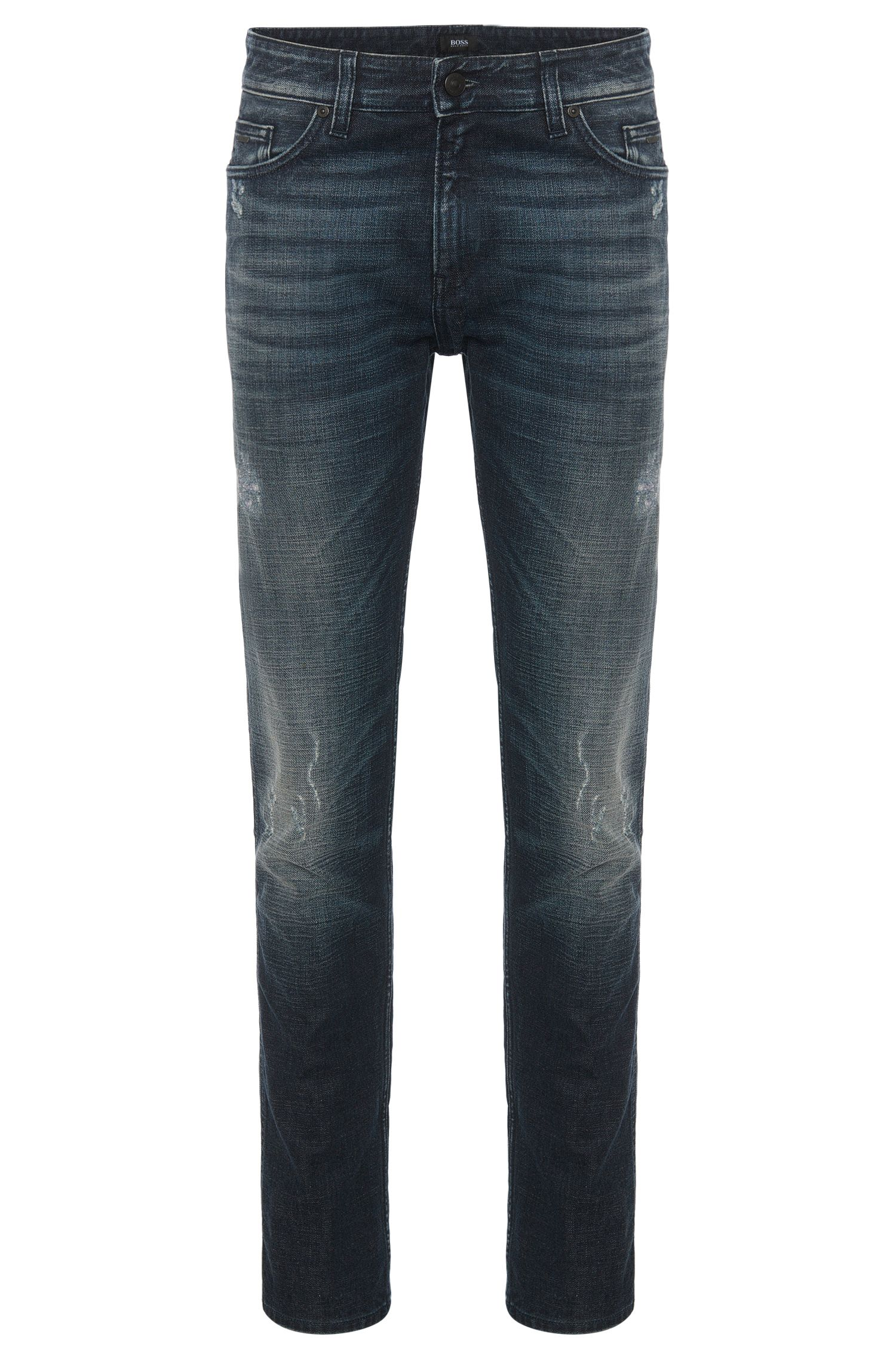 Jeans Slim Fit en coton stretch à l'aspect usé : « Delaware3 »