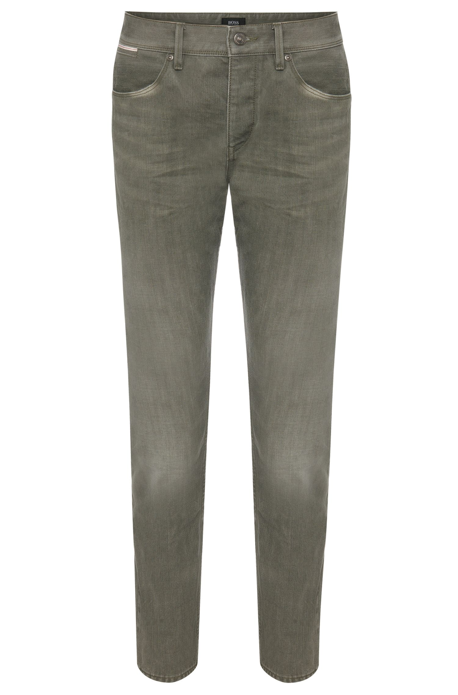 Slim-fit jeans in cotton blend with bleached wash: 'Delaware3-Edge1'