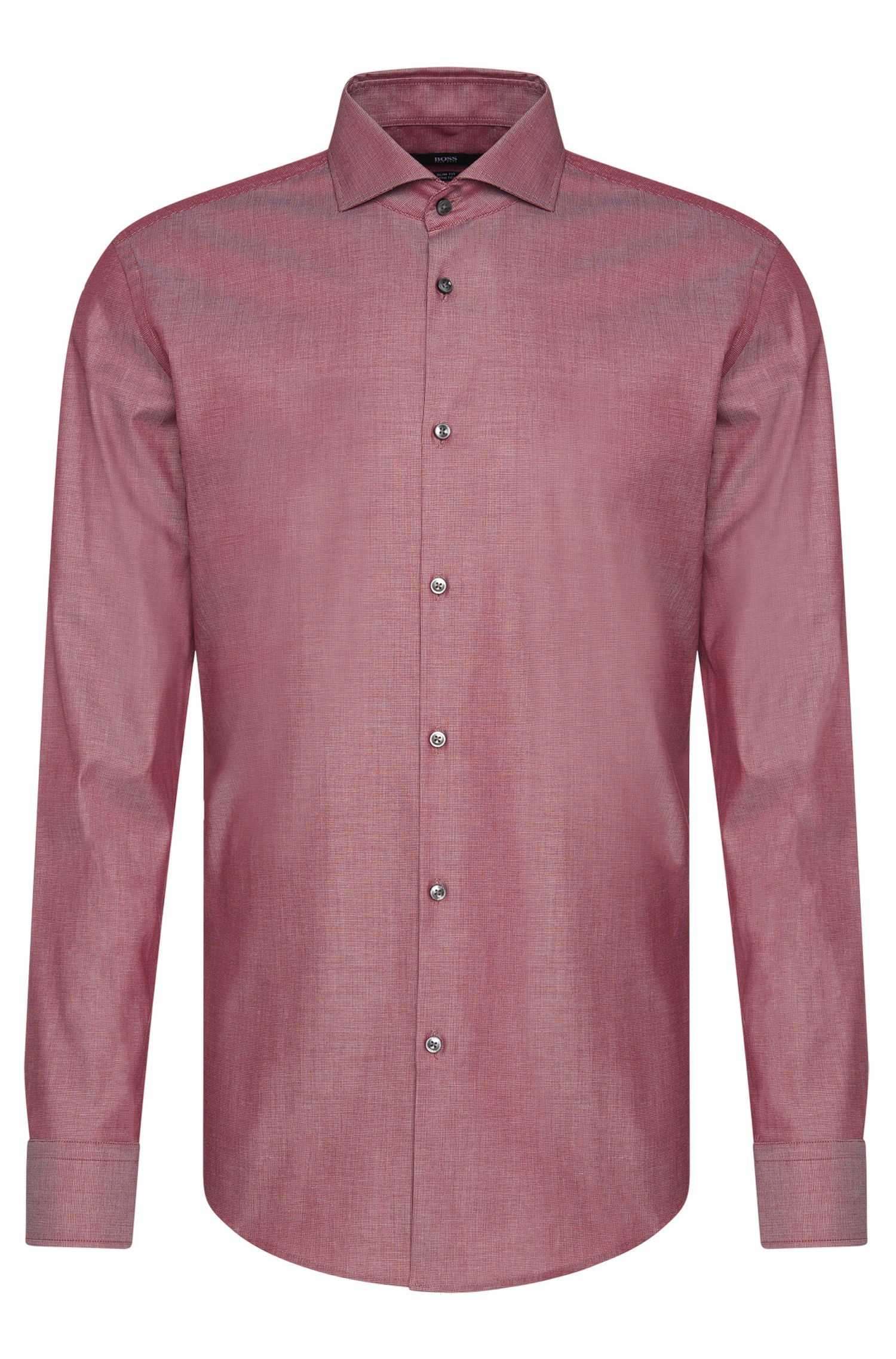Finely patterned slim-fit shirt in stretch cotton: 'Jason'