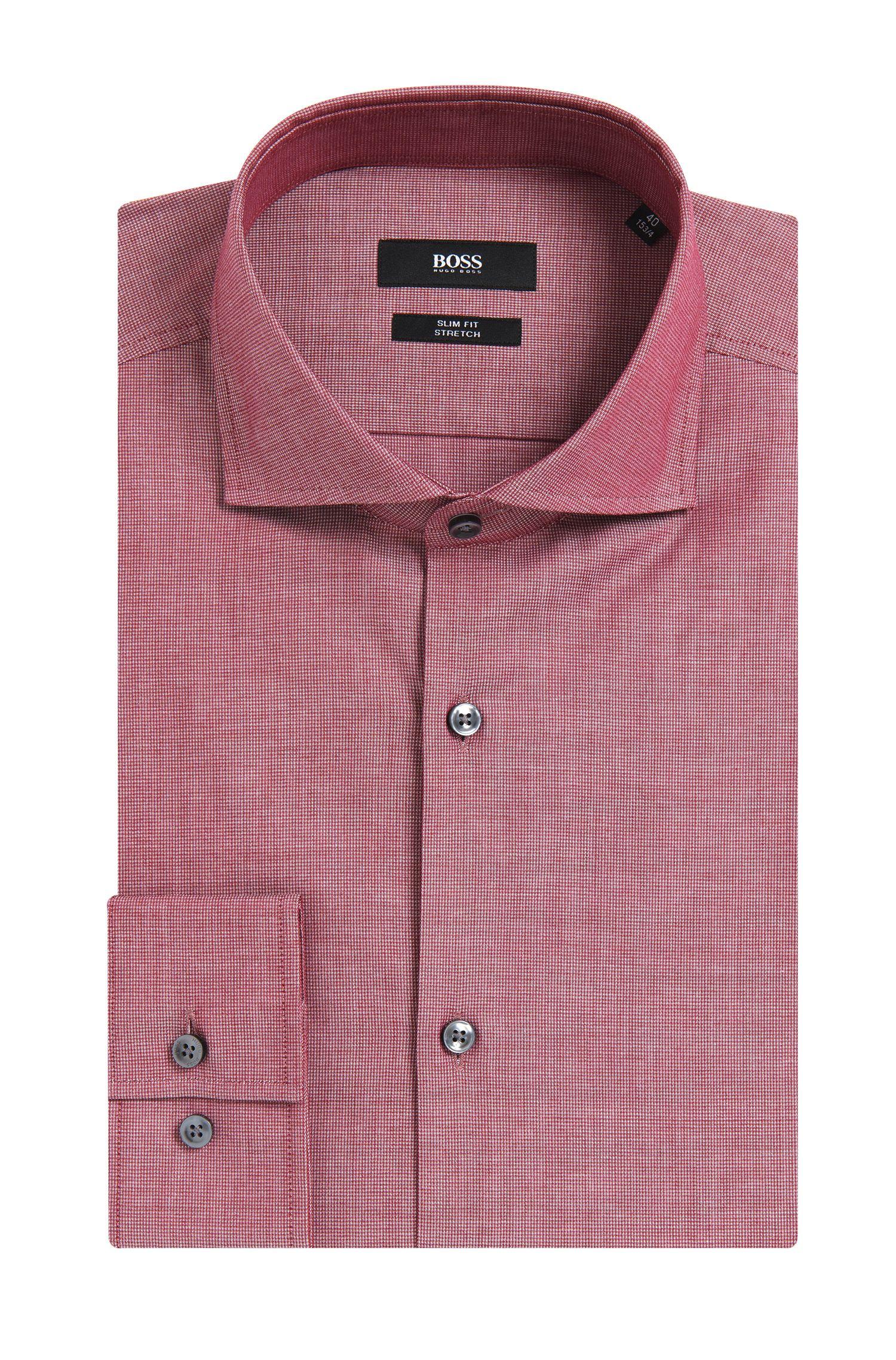 Chemise Slim Fit à motif fin en coton stretch: «Jason»