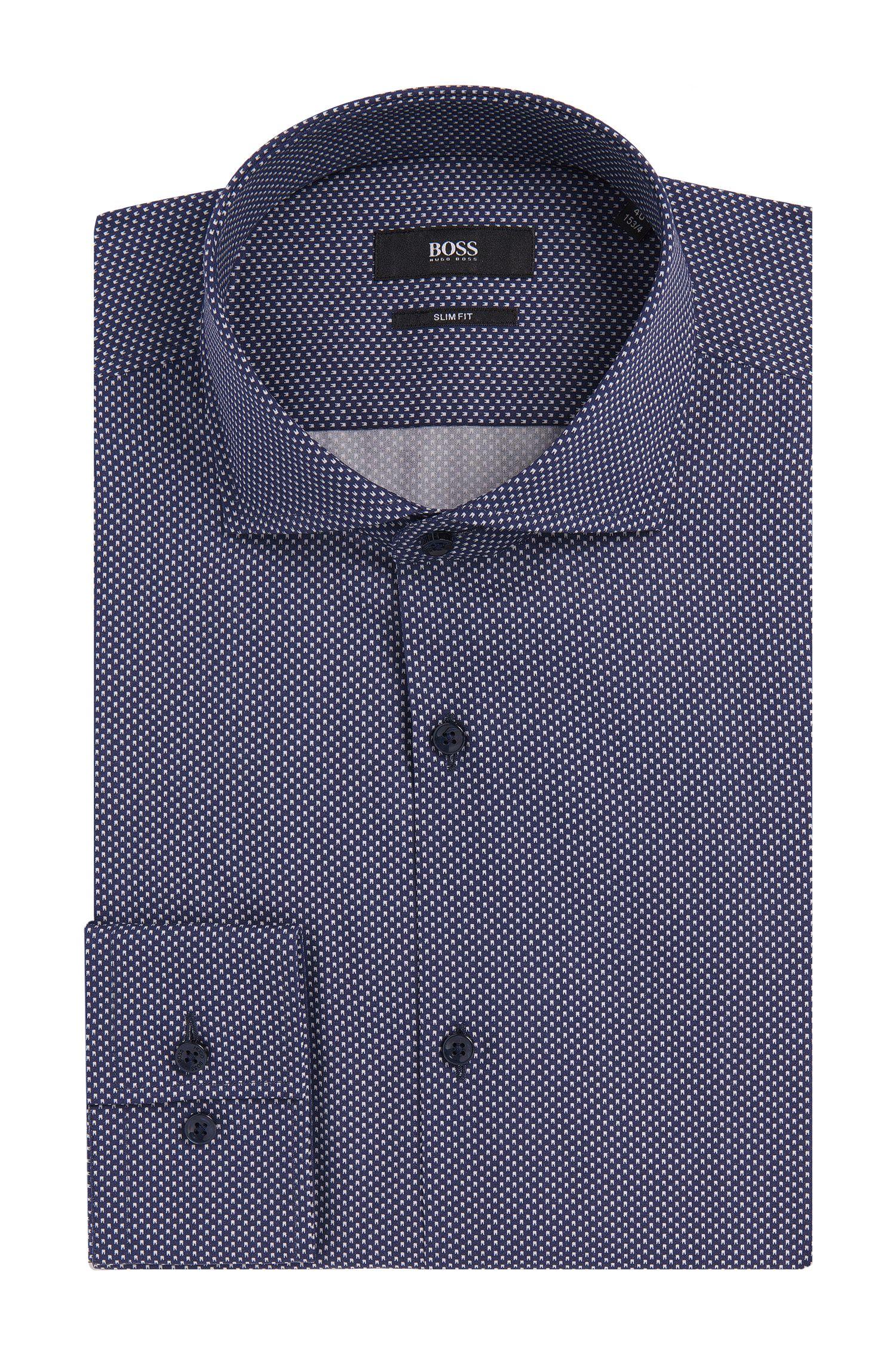 Slim-fit overhemd van zuivere katoen met dessin: 'Jason'