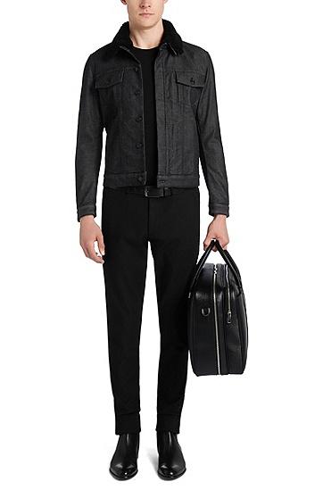 Slim-Fit Jeansjacke aus Stretch-Baumwolle mit abnehmbarem Kragen: 'Windham3', Schwarz
